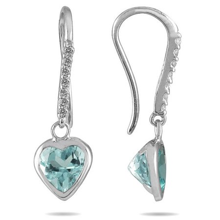 2 Carat Bezel Set Heart Shaped Aquamarine and Diamond Earrings in 14K White Gold Shaped Aquamarine Earrings
