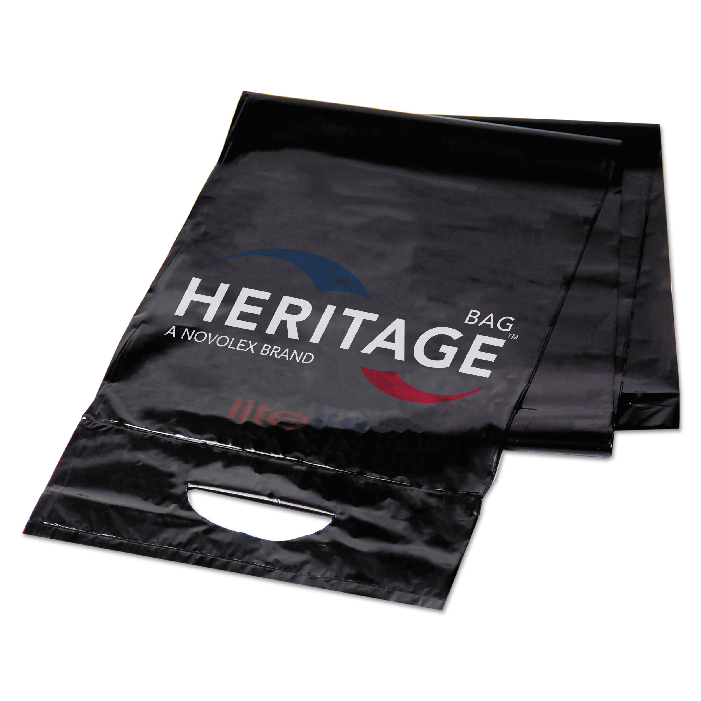 Heritage Litelift Low-Density Trash Bags, 55 gal, 1.3 mil, 40 x 53, Black, 100/Carton