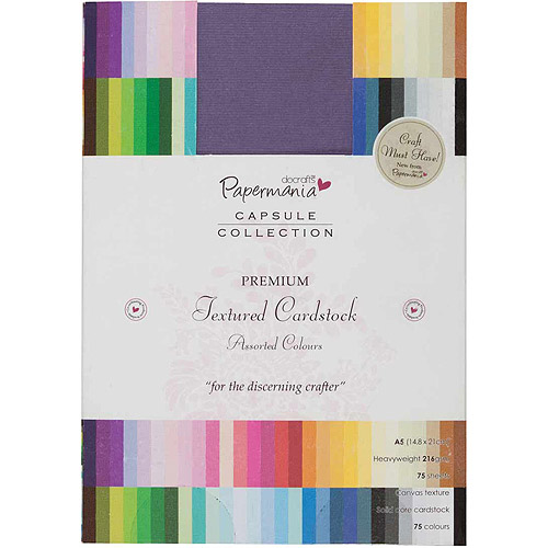 Papermania Premium Textured Solid Cardstock Pack, A5, 75pk, Multi