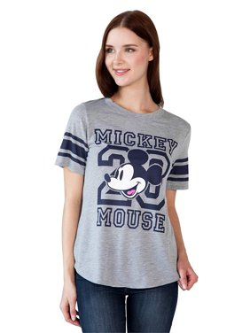 Juniors Mickey Mouse Athletic T-Shirt Gray Blue Football Style Sizes Small - 3X