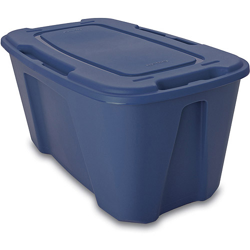 Homz 49-Gallon Storage Tote with Wheels Set of 4, Blue