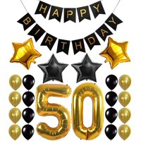 Gold 50th Birthday Decorations Kit – Large, Pack of 26 | Number 5 and 0 Party Balloons Supplies | Black Happy Birthday Banner | Perfect for 50 Years Old Décor