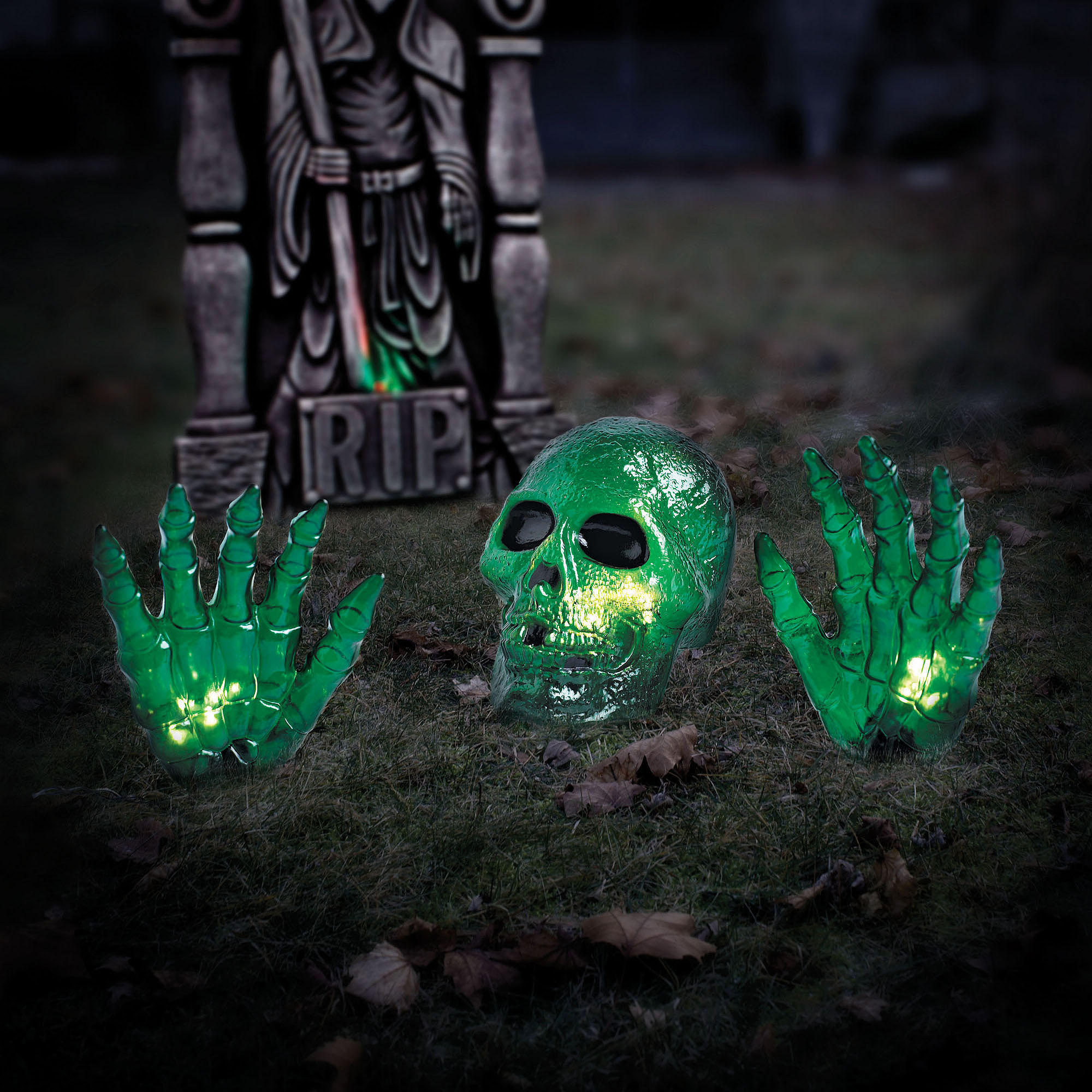Way To Celebrate Green Skull With Hands Light Set Walmart Com