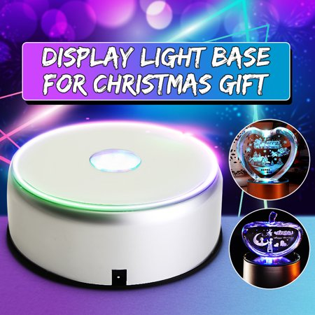 7 LED Colorful Light Unique 3D Rotating Crystal Display Base Stand with 110V-220V Power Supply (Silver Led Power Supply)