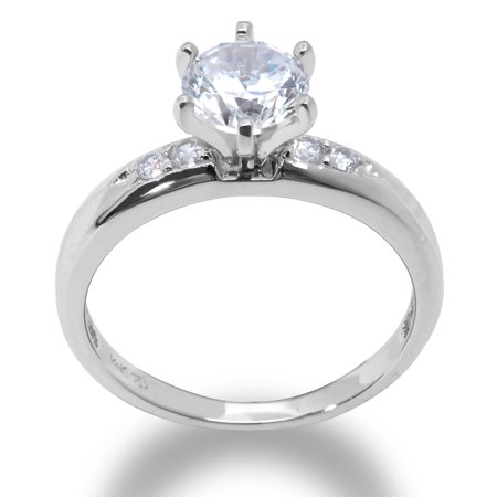 14K Solid White Gold 1 Ct. Round Solitaire CZ Engagement Ring
