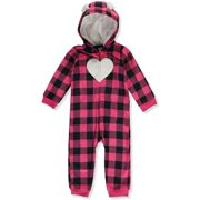 Carter's Baby Infant Heart Plaid Hooded Pram Suit - Pink/Black, 9 Months
