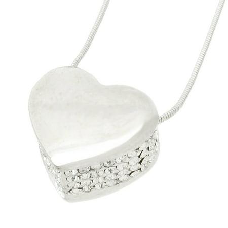 Rhinestone Encrusted Heart Necklace / Pendant Polished Chrome - image 4 de 5