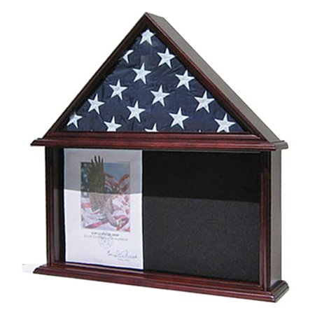 Memorial Shadow Box, Burial/Funeral Flag Display Case for 5' X 9.5' Flag, Mahogany Finish, Solid Wood (FC07-MA)