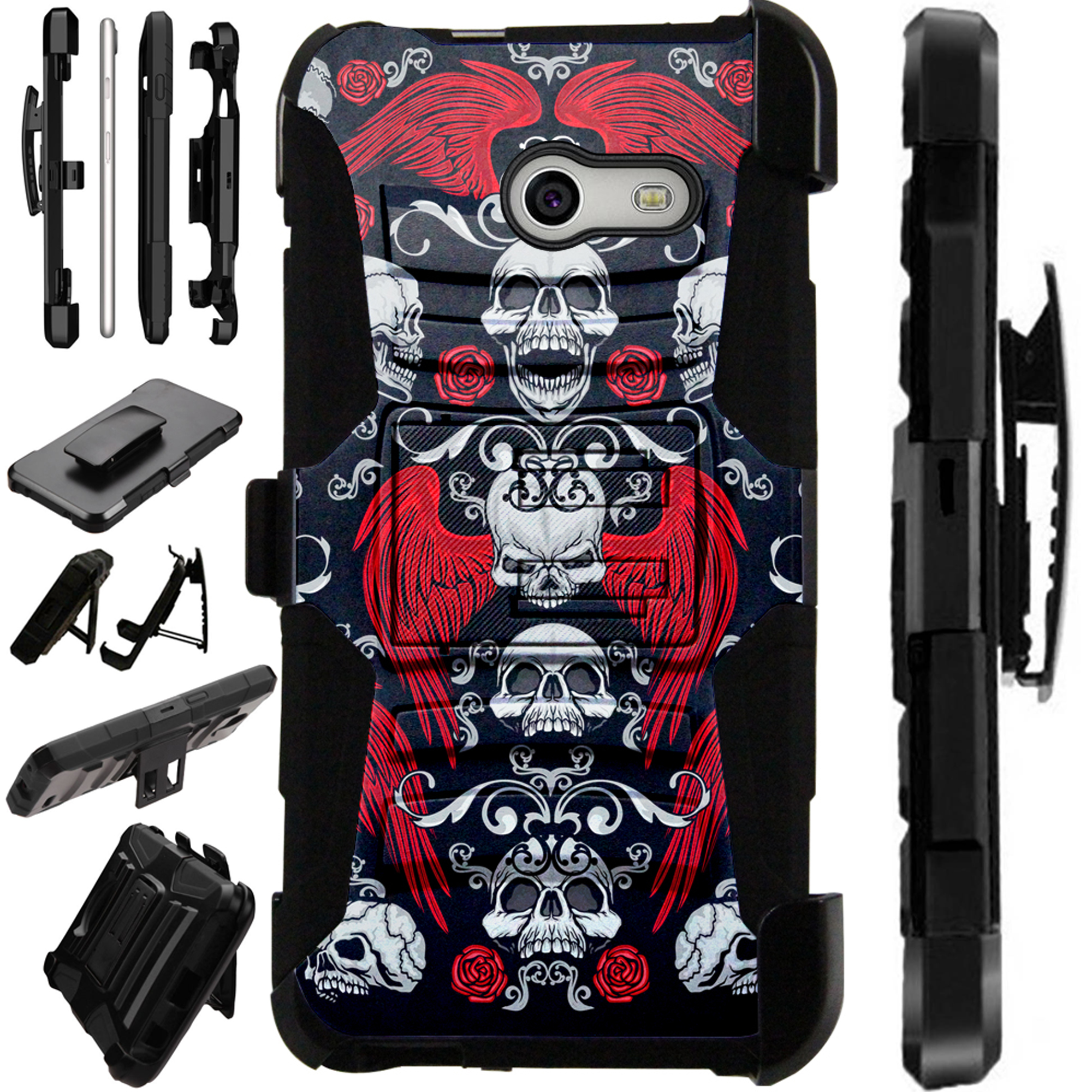 LuxGuard Phone Case Cover For Samsung Galaxy J3 Emerge | J3 Mission | J3 Eclipse | J3 Luna Pro (Skull Angel)