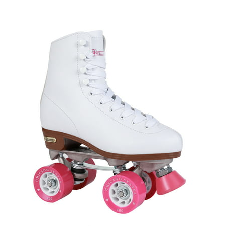 Chicago Ladies' Classic Quad Roller Skates, White, Size 1 - Lighted Roller Skates