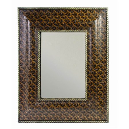 Beveled Wall Mirror w Faux Leather Frame in Brown ()