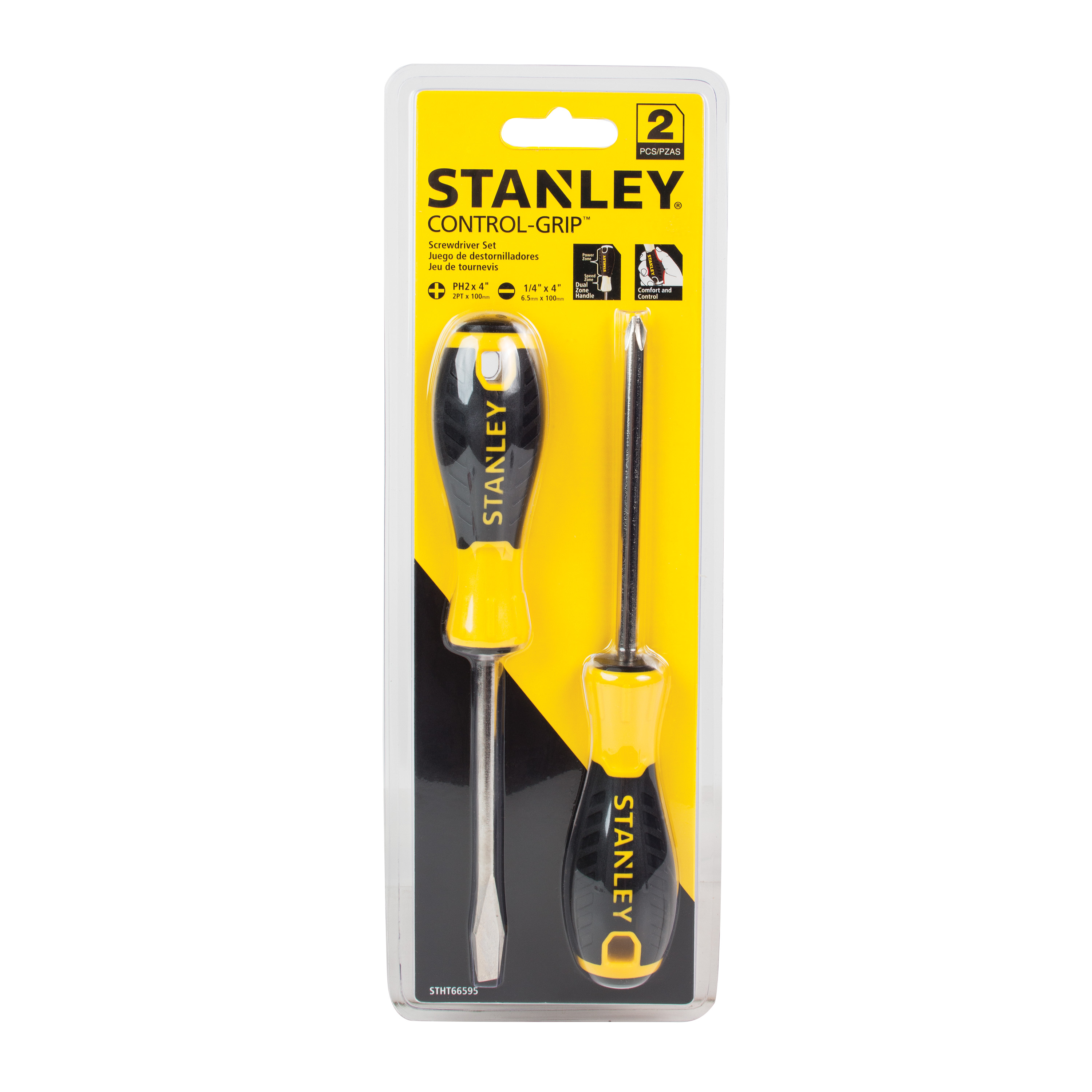 Stanley STHT66595 2pk Control Grip Screwdrivers