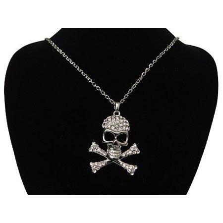 Crystal Skull Rhinestone Necklace (CZ Crystal Rhinestones Skeleton Skull Necklace Pendant)