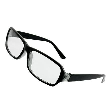 Man Woman Black Plastic Full Rim Clear Lens Plain Glasses (Clear Glass Spectacles)