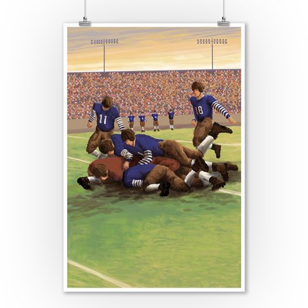 Dogpile Football Scene - Lantern Press Original Poster (9x12 Art Print, Wall Decor Travel Poster)