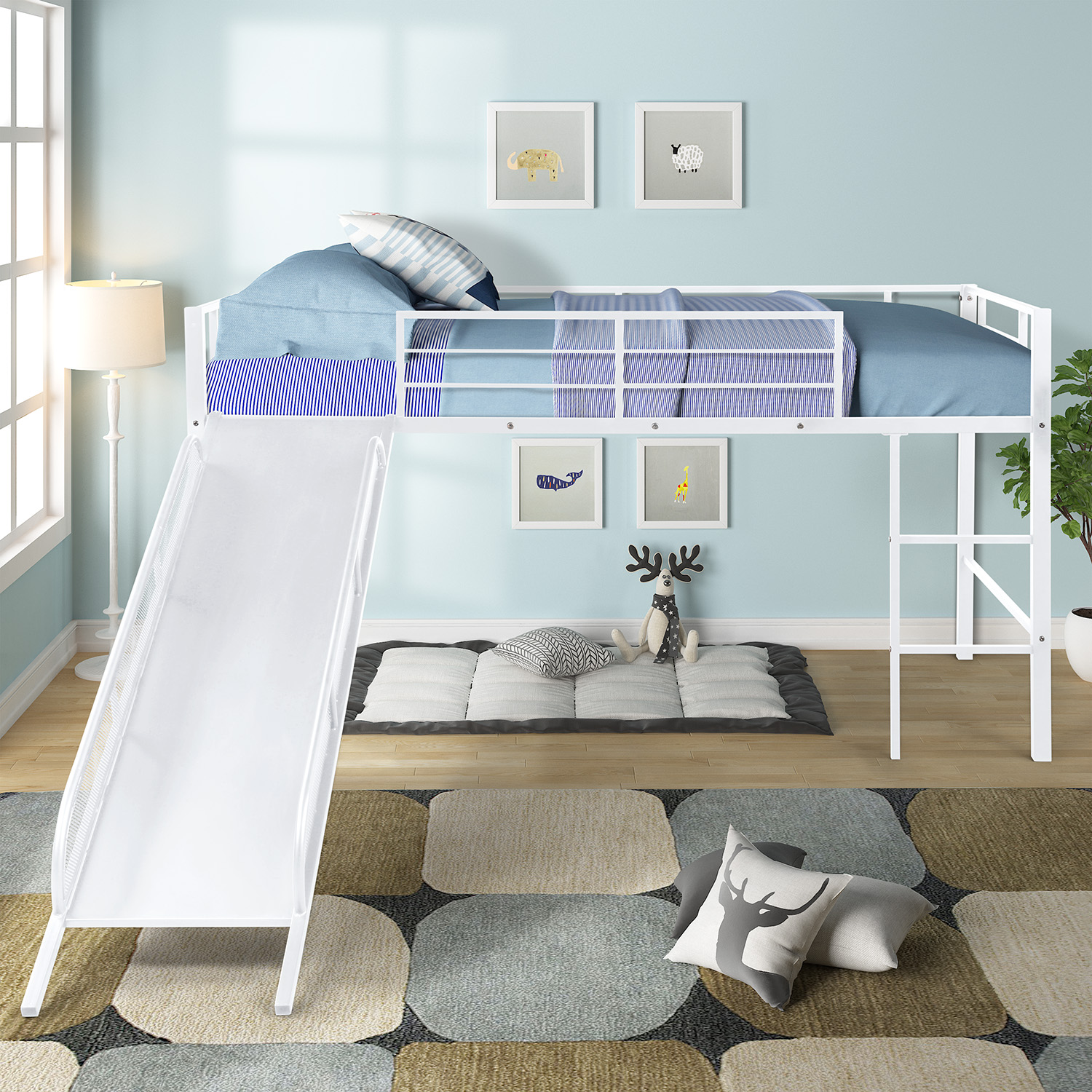 Metal Loft Bed With Slide Sturdy Twin Size Loft Bed Frame Loft Bed With White Slide For Kids Toddlers Kids Bed For Boys Girls Bedroom No Box Spring Needed Multifunctional Design White
