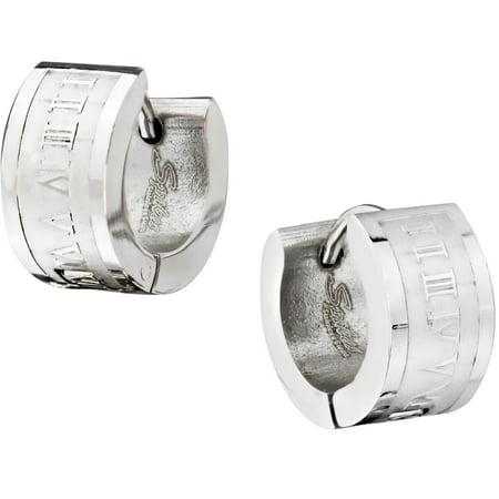 Roman Numeral Cuff (Stainless Steel Engraved Roman Numeral Wide Huggie Hoop Earrings for Men )