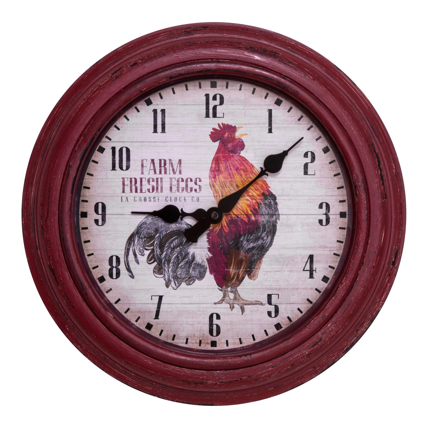 La Crosse Technology La Crosse 404-3630 12-inch Round Distressed Red Rooster Analog Wall Clock