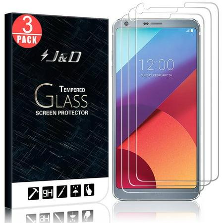 LG G6 Screen Protector, J&D Glass Screen Protector [Tempered Glass] HD Clear Ballistic Glass Screen Protector for LG G6 - Protect Screen from Drop and Scratch (3 Packs)
