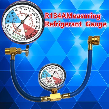 R134A AC Car Air Conditioning Refrigerant Recharge Measuring Kit Hose Gauge ()