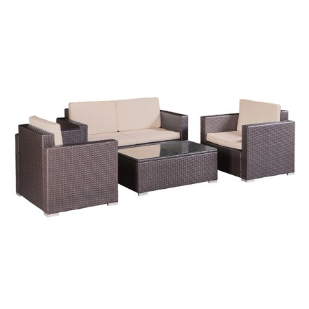 Palm Springs Modern 4 pc Garden Furniture Wicker Patio Set w/ Chairs, Table &