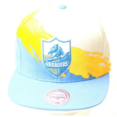 San Diego Chargers Mitchell & Ness Paintbrush Hat, Multicolored + GT Wristband