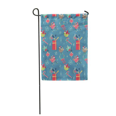 NUDECOR Red Retro Holiday Cute Birds in Mid Century Modern Garden Flag Decorative Flag House Banner 28x40 inch - image 1 of 1