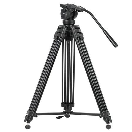 KINGJOY VT-2500 Professional Mg-Al Alloy Video Photo Tripod Kit 360°Panorama Pan Fluid Ball Head for DSLR Camera Video Recorder DV Max Height 61 Inch Max Load 15KG