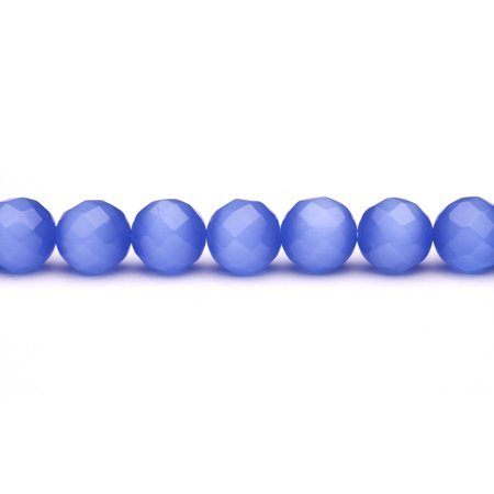 Blue Cat's Eye Beads Faceted Round Fiber Optic Glass Beads 16mm - Blue Glass Beads