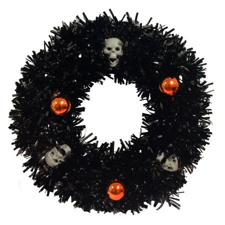 Halloween Black Tinsel Wreath with Skulls and Orange Ornaments 14 Inch Diameter