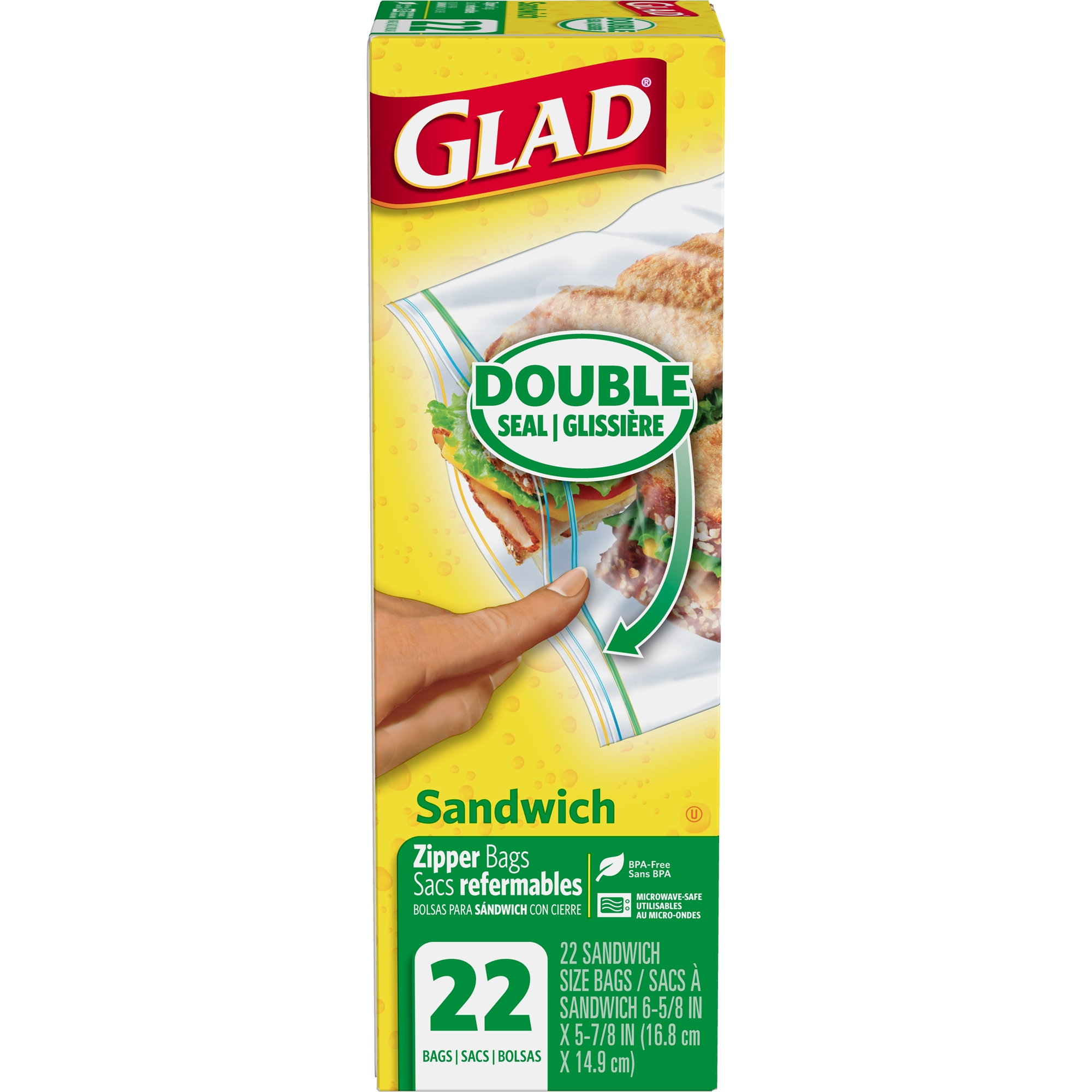 Glad Zipper Food Storage Sandwich Bags - 22 ct