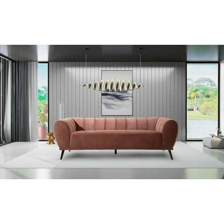Chic Home Fedor Sofa Velvet Upholstered Vertical Channel-Quilted Single Bench Design ()