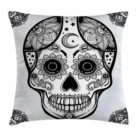 Sugar Skull Decor Throw Pillow Cushion Cover, Vintage Style Hispanic Folk Spiritual Art All Saints Holiday Mascot, Decorative Square Accent Pillow Case, 18 X 18 Inches, Black and White, by Ambesonne