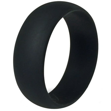 FSR - FLEXIBLE SILICON RINGS - 8MM Men or Ladies Flexible BLACK Silicon Rubber Wedding Band Ring Mens Rubber Band