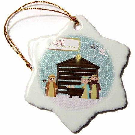 3dRose Nativity Scene, Mary, Joseph, Baby Jesus, Manger, Shepherd, and Dove, Joy to the World, Snowflake Ornament, Porcelain, 3-inch