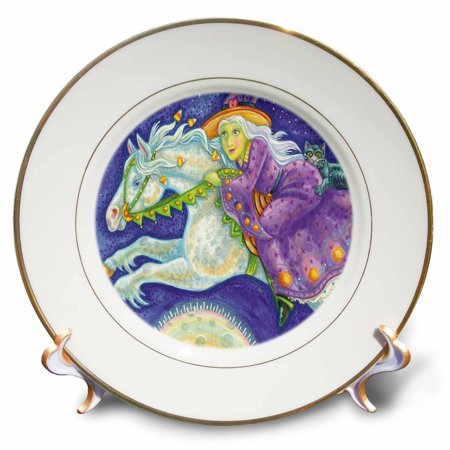 3dRose Cute Halloween Witch Riding Her Halloween Horse Illustration - Porcelain Plate, - Cute Halloween Illustrations