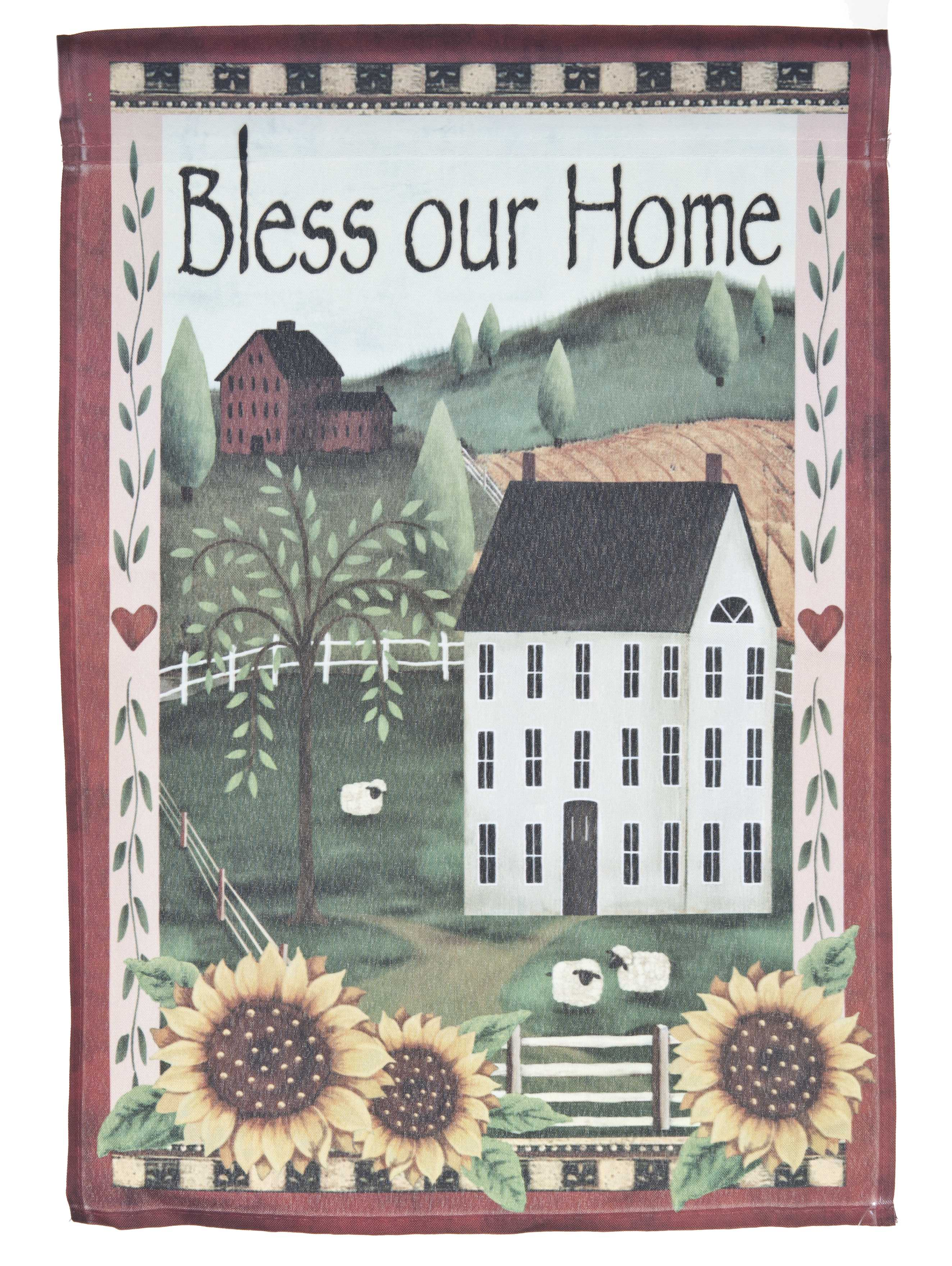 Bless Our Home Lawn Flag w  Farmland by Garden Accents (12 x 18 Inch) by