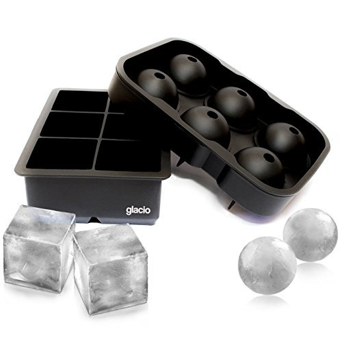 glacio Combo Silicone Ice Molds - Sphere Ice & Large Square Ice Cubes