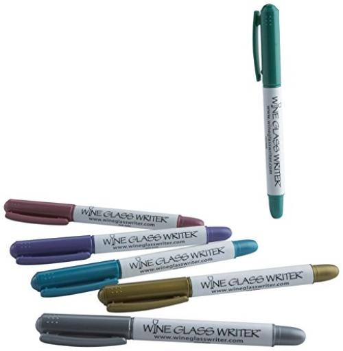 Wine Enthusiast 947 11 06 Metallic Glass Writer Party Pen (6 Pack), Multicolor