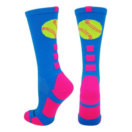 (MadSportsStuff Softball Logo Crew Socks (Electric Blue/Neon Pink, Medium))