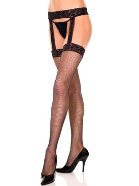 606e8597fe Product Image Music Legs Plus Size Fishnet Stockings With Rhinestone Lace  Garterbelt Black Queen
