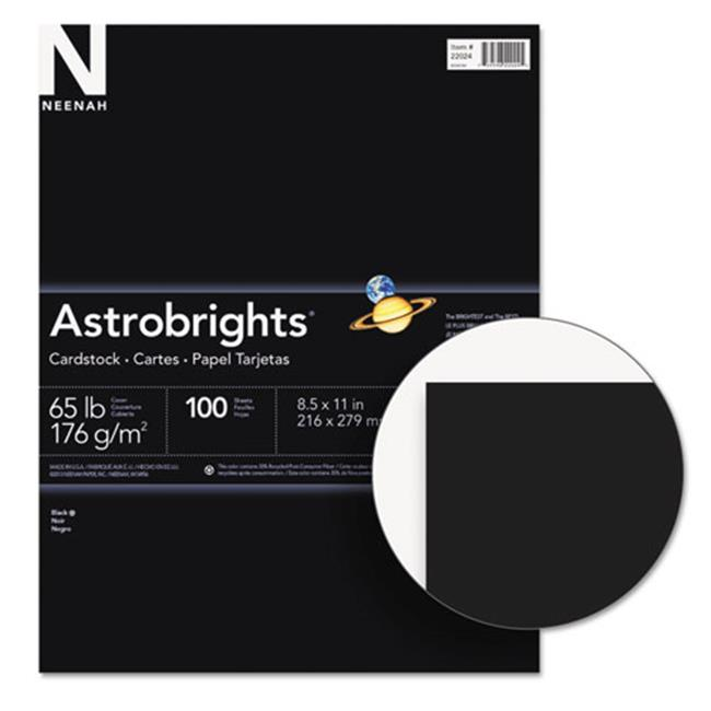 Wausau Papers 2202401 Astrobrights Colored Card Stock, 65 lbs., 8-1/2 x 11, Eclipse Black, 100 Sheets
