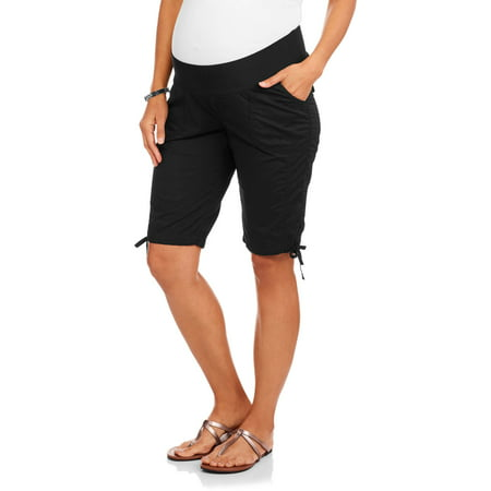 Maternity Underbelly Stretch Poplin Bermuda Shorts - Available in Plus (Stretch Poplin Belted Shorts)