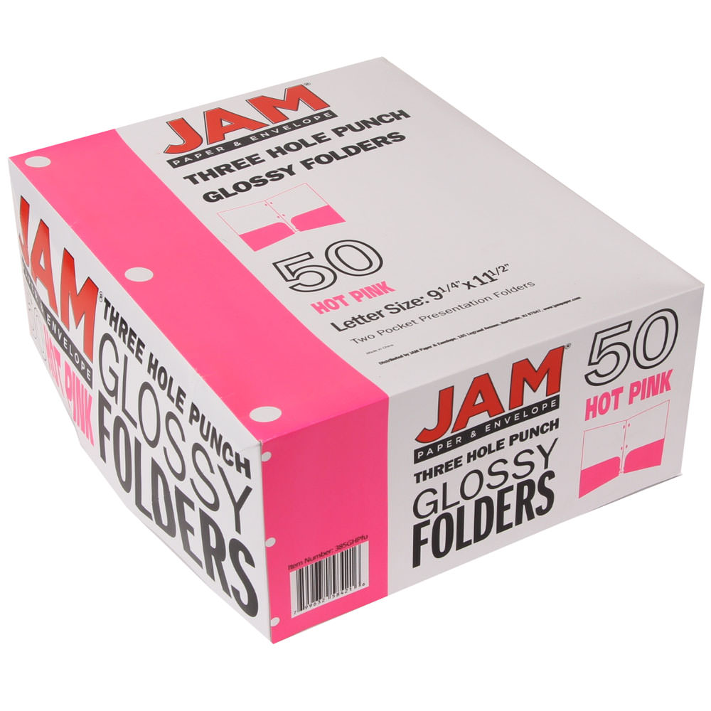 JAM Paper Glossy Two Pocket 3 Hole Punched Presentation Folder, Fuchsia Hot Pink, 50/pack