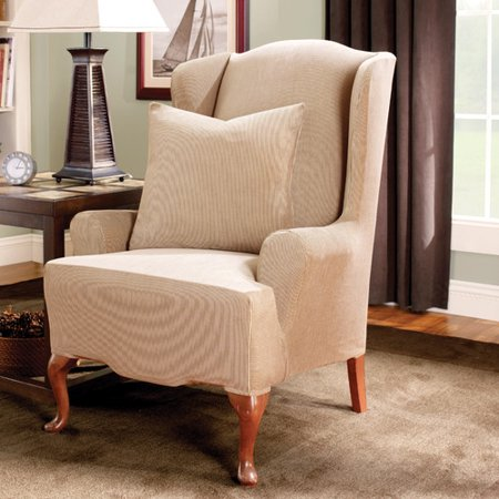 Astonishing Sure Fit Stretch Stripe Wing Chair Slipcover Gmtry Best Dining Table And Chair Ideas Images Gmtryco