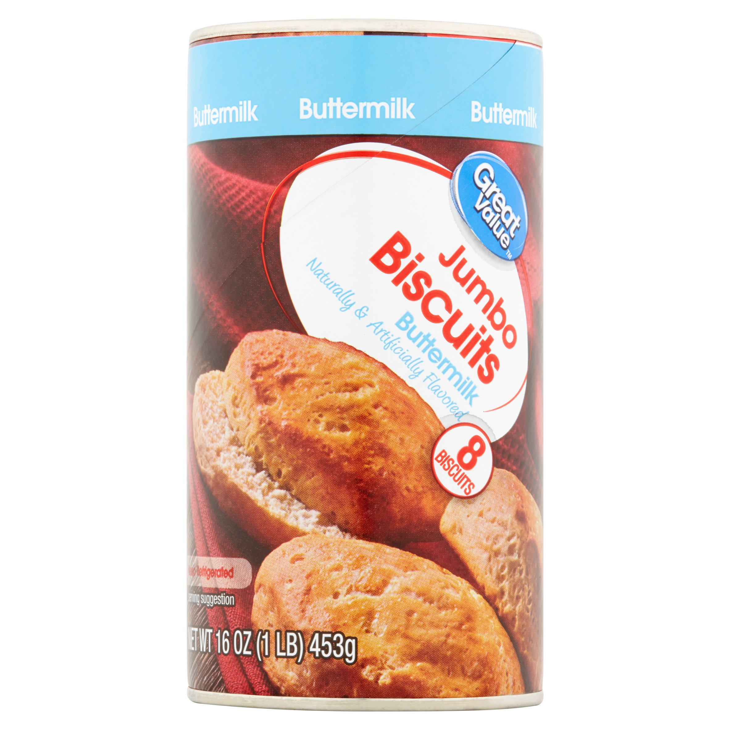 Great Value Buttermilk Jumbo Biscuits, 16 oz, 8 count