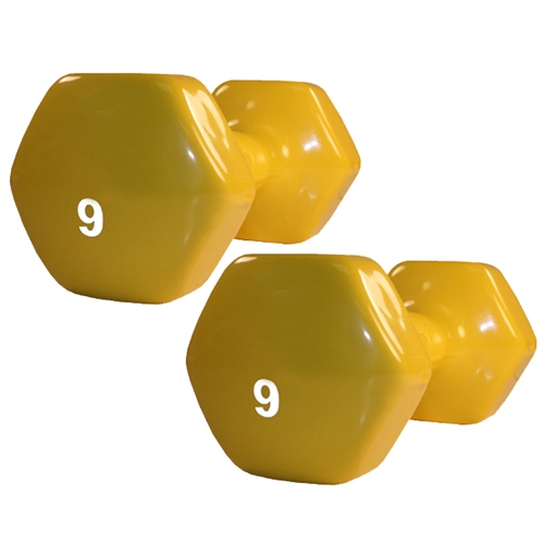 Harvil Yellow Hex Dumbbell, 9 pounds - Vinyl Coated with Non Slip Grip. Sold in Pairs.