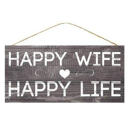 Happy Wife Happy Life Sign - 12.5