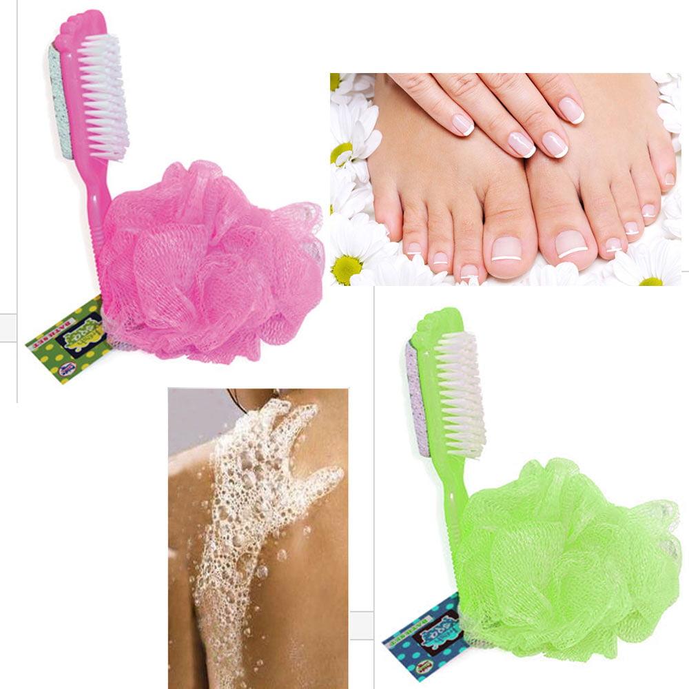 4 Pc  Bath Shower Mesh Scrub Sponge Exfoliating Body Wash Nylon Puff Scrub Wash
