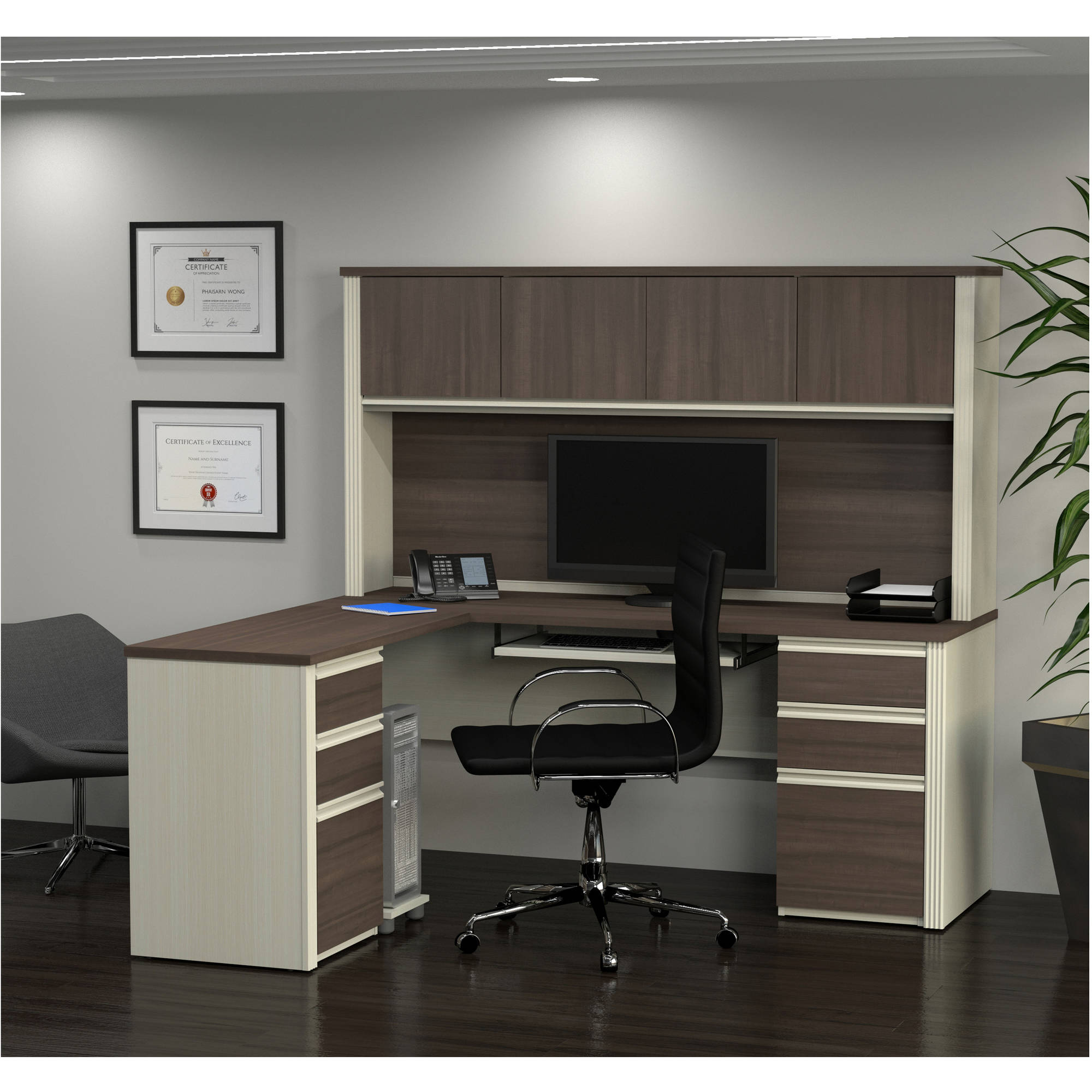 Bestar Prestige + L-Shaped Workstation Including Two Pedestals, White Chocolate and Antigua